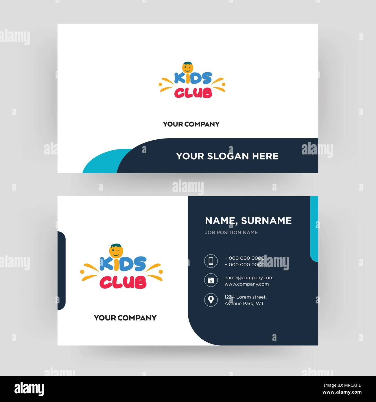 Kids club business card design template visiting for your company kids club business card design template visiting for your company modern creative and clean identity card vector cheaphphosting Images