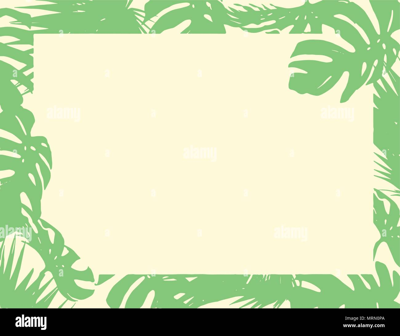 the flat green natural leaves border blank paper summer background