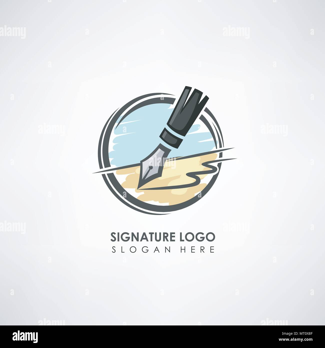 Signature Concept Logo Template With Pen Drawing Label Template For