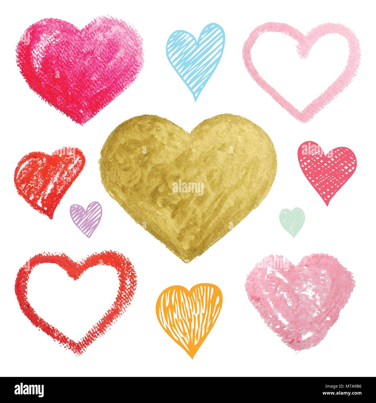 vector set of colored hearts in different shapes and styles over