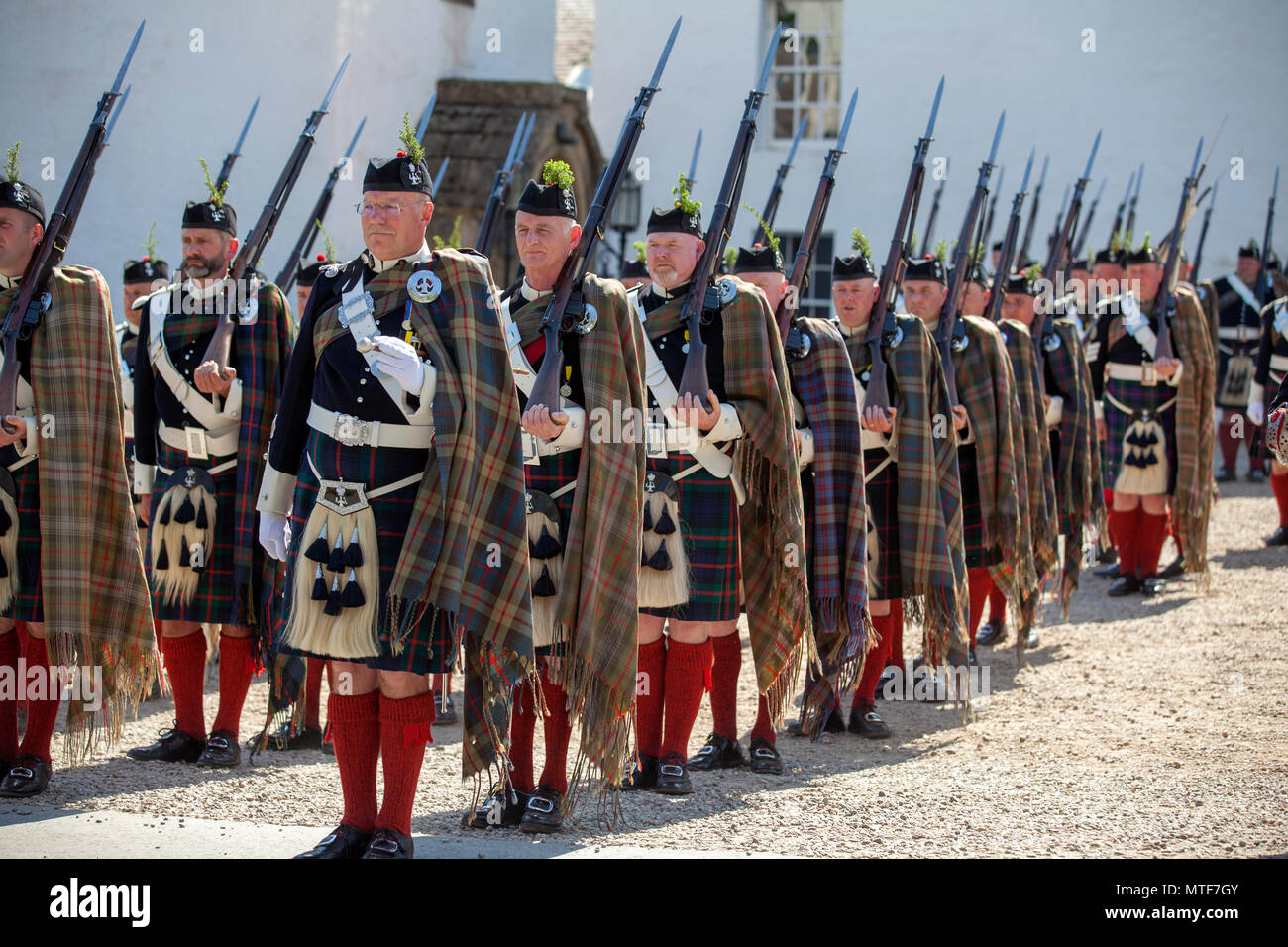 The Atholl Highlanders on parade at Blair Castle in Perthshire, Scotland. Stock Photo