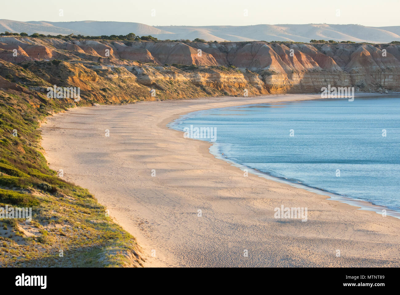 Sunset at Maslin Beach near Adelaide, South Australia.  Maslin's is Australia's first official nude beach. Stock Photo