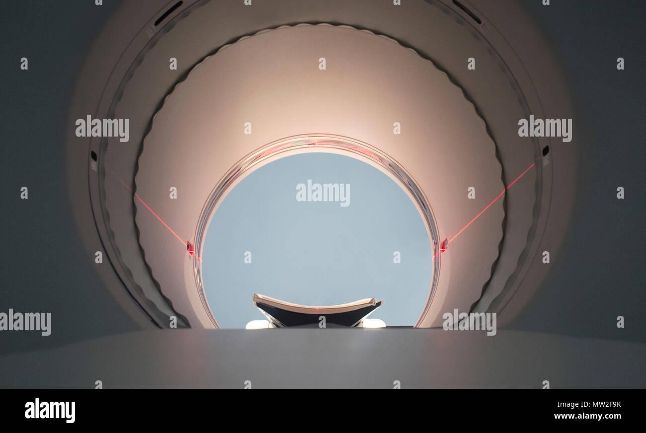 PET/CT Machine round hole. Positron emission tomography–computed tomography. Soft noise at 100% Stock Photo