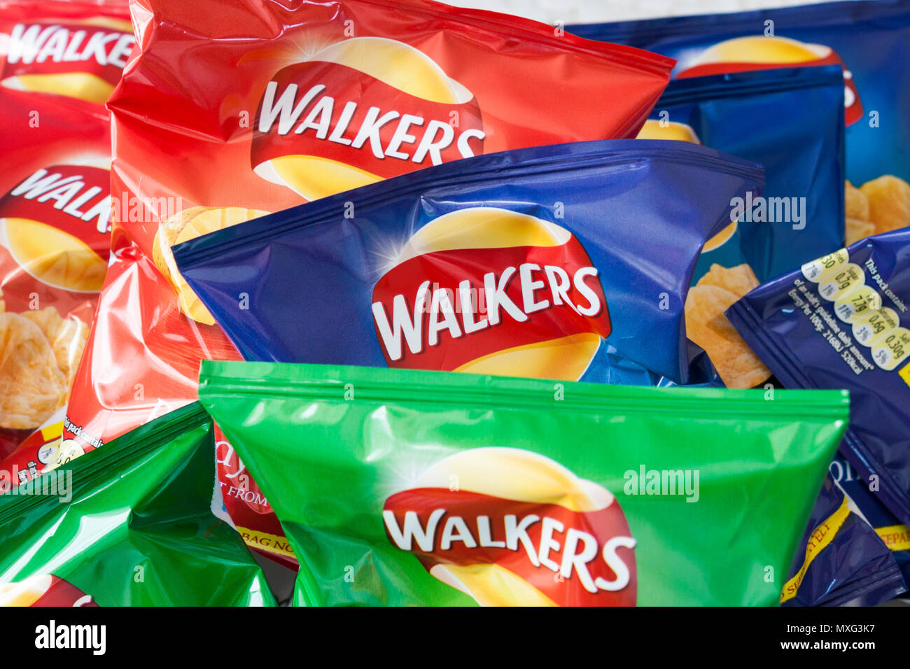 Walkers crisps packets assorted flavours Stock Photo