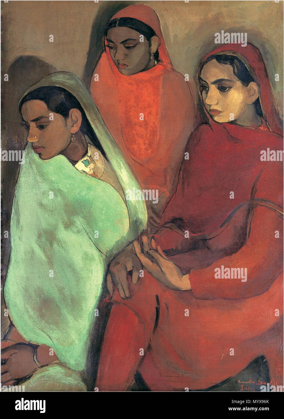 .  English: Group of Three Girls, by Amrita Sher-Gil, won her a gold medal from the Bombay Art Society. National Gallery of Modern Art (NGMA), New Delhi. Oil on Canvas, 73.5 X 99.5 cm.  . Group of Three Girls . 1935 1 Amrita Sher-Gil Group of Three Girls Stock Photo