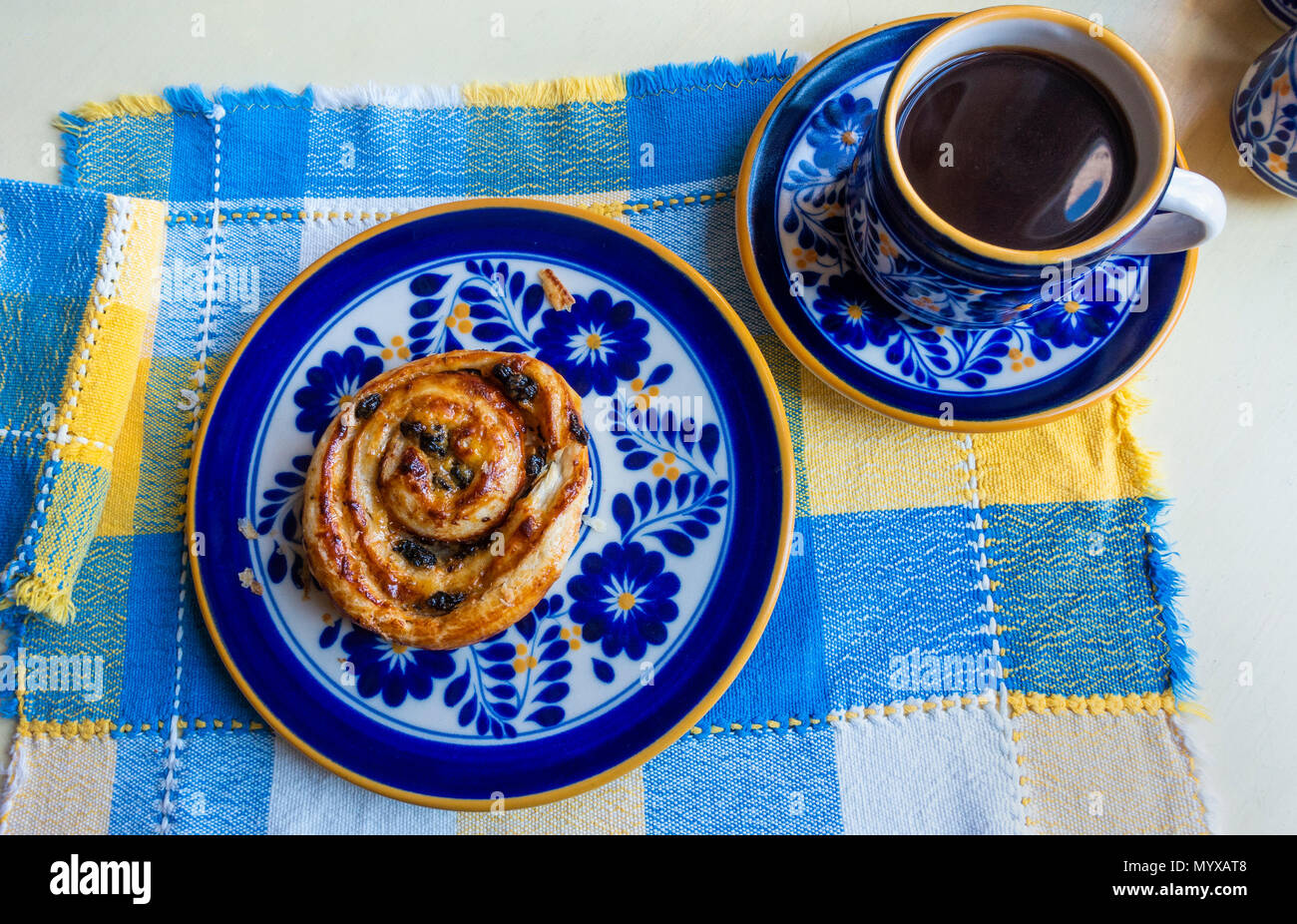 cinnamon-raisin-danish-pastry-and-black-