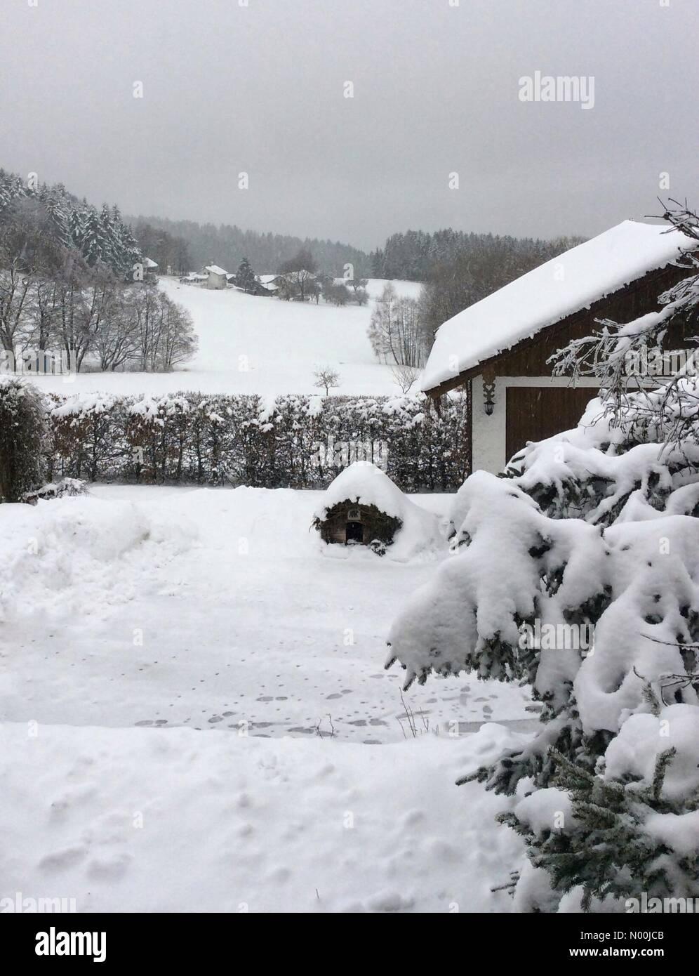 Bavarian Forest near Deggendorf, Germany. 21st December, 2017. Winterwonderland, snow at Christmas Bavarian Forest - Stock Image