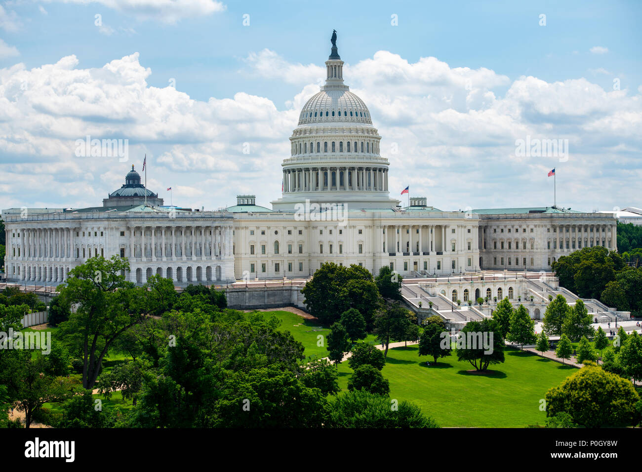 USA Wasington DC D.C. The U S Capitol Building on the hill on a sunny summer day.Stock Photo