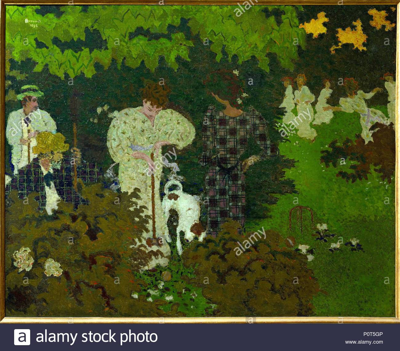 "Crepuscule ou la partie de croquet-Dusk, or a game of croquet; Eugene Bonnard, father of the artist, Andree and Claude Terrasse, his sister and brother-in-law at the "" Clos"", Le Grand-Lamps. 1892 Canvas, 130 x 162,5 cm RF 1985-58. Author: Pierre Bonnard (1867-1947). Location: Musee d'Orsay, Paris, France. Stock Photo"