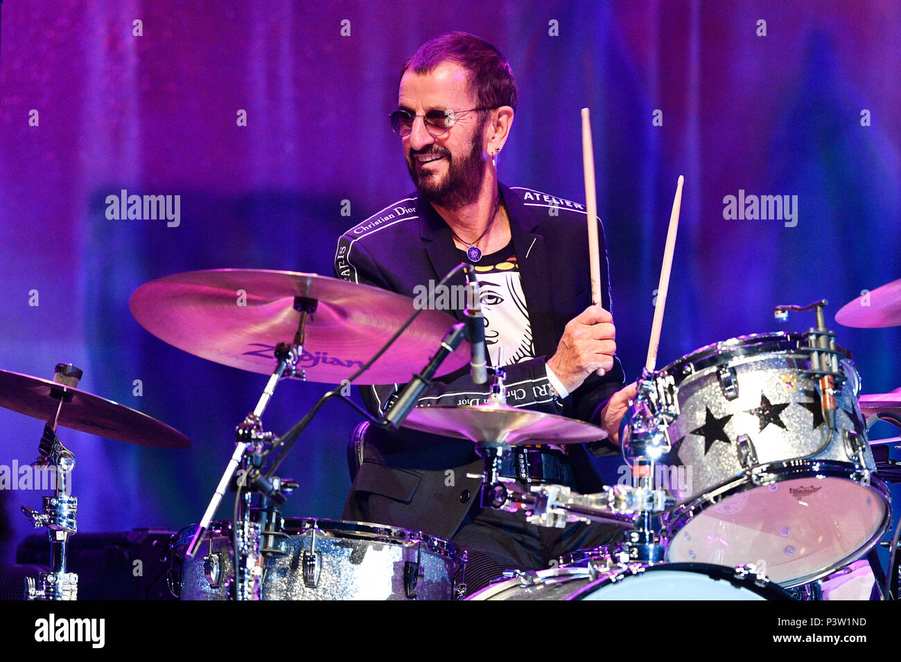 Prague, Czech Republic. 19th June, 2018. British singer Ringo Starr performs during the concert with his All Star Band at the Prague Congress Centre, Czech Republic, on June 19, 2018. Credit: Michal Kamaryt/CTK Photo/Alamy Live News Stock Photo