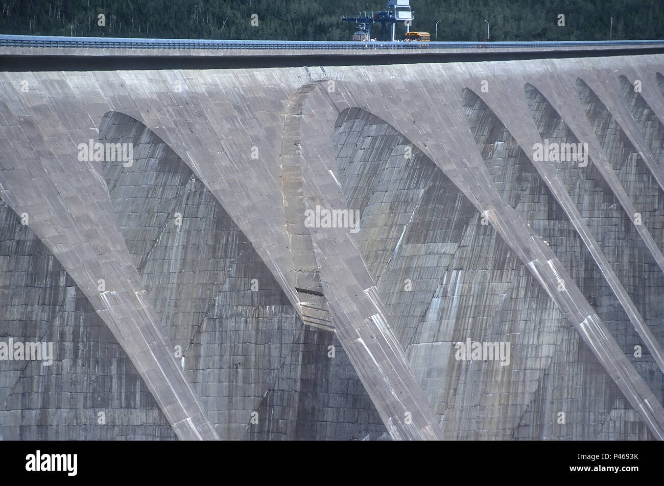 The massive Daniel Johnson Dam, also known as manic 5, on the Manicougan river in Quebec Canada. It is the largest dam of its type in the world Stock Photo