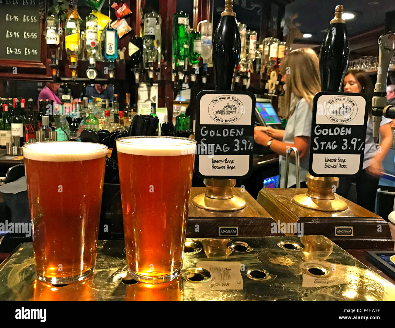GoTonySmith,@HotpixUK,HotpixUK,drinks,drink,alcoholic,pub,bar,Golden Stag,Brewhouse,Walton Warrington,Warrington,WA4,Cheshire,England,UK,two pints on a bar,two pints