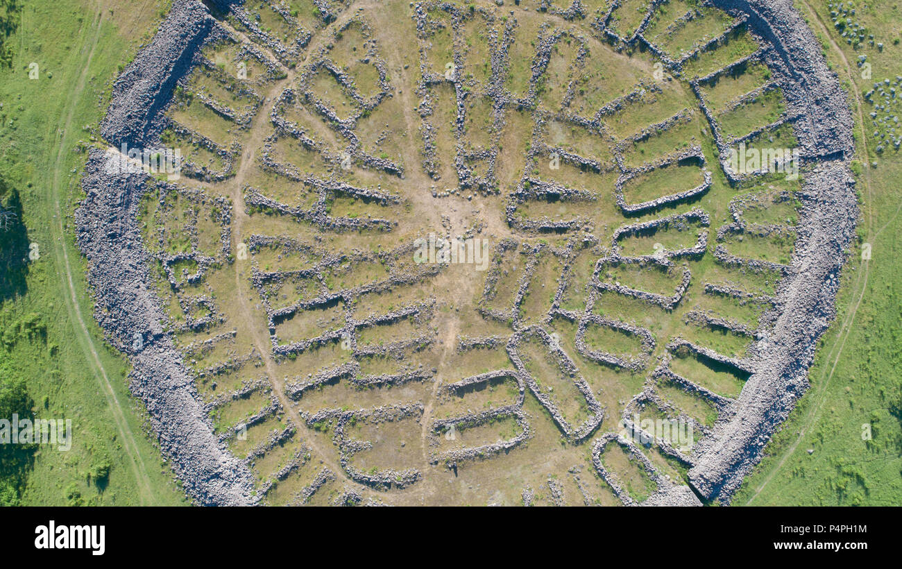aerial-photo-of-ismantorp-an-iron-age-fortification-on-land-sweden-P4PH1M.jpg