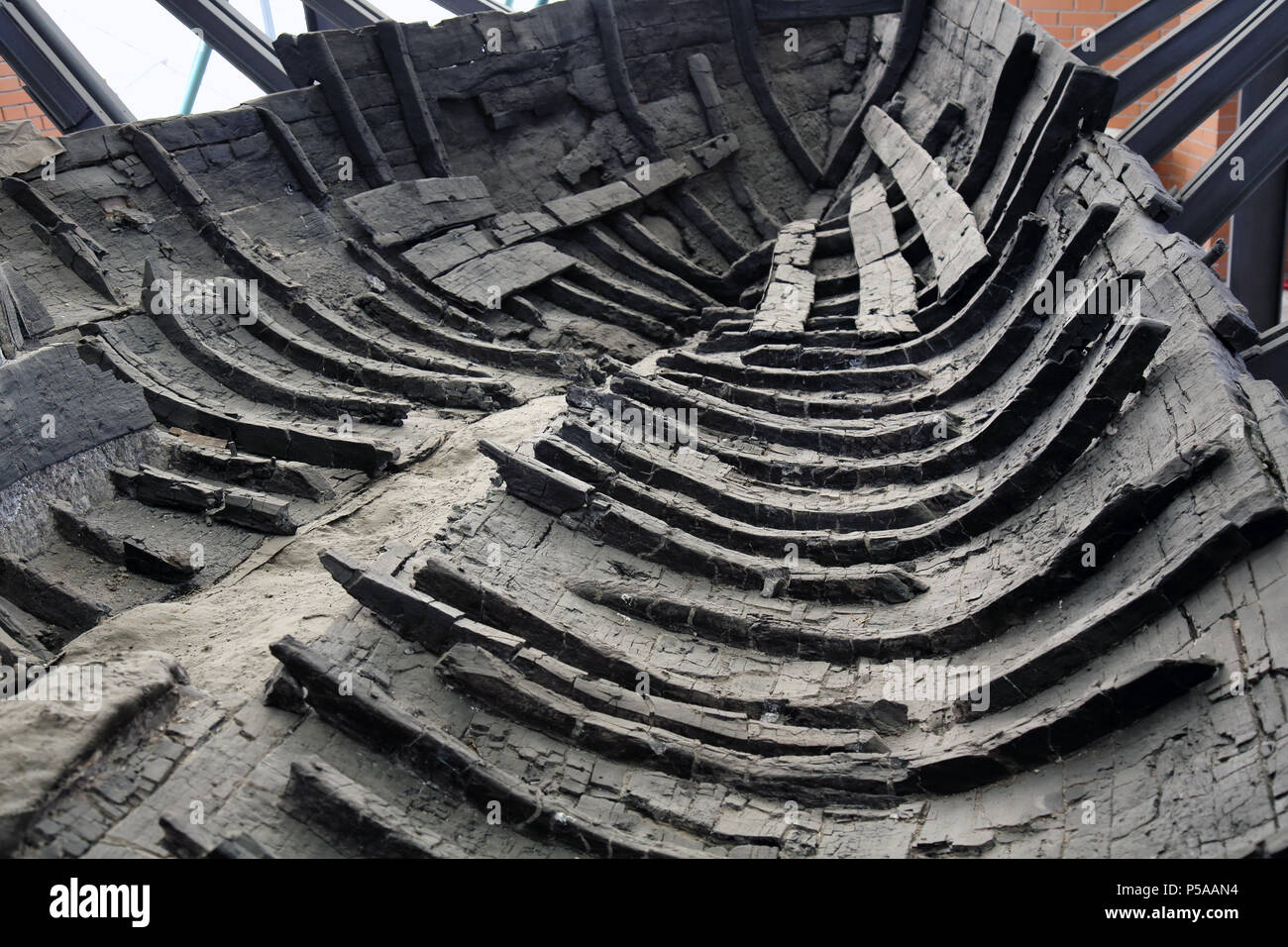 old carbonised boat fount at the partly uncovered roman city of Herculaneum destroyed by pyroclastic rock when vesuvius erupted in 79 AD Stock Photo