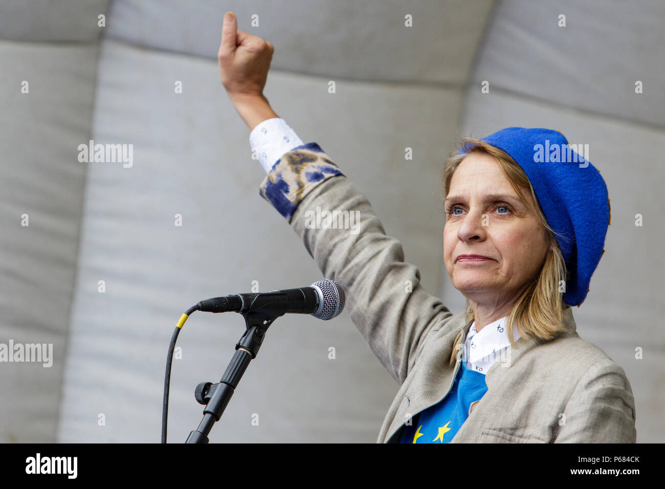 Wera Hobhouse the Liberal Democrat MP for Bath is pictured talking to Pro EU supporters at an anti Brexit protest march + rally in Bristol 14/10/2017 Stock Photo