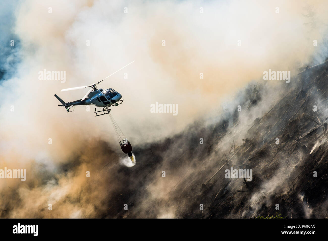 Aberystwyth Wales UK, June 29 2018  UK Weather:  A forest fire that started on Tuesday  26the June  is still burning and smouldering for a fourth day along the steep hillsides of the Rheidol Valley, a few miles inland of Aberystwyth in Mid Wales. The terrain makes it impossible for fire-crews to get their vehicles close to  the flames, and the fire is being dealt with by a specialist helicopter team , commissioned by Natural Resources Wales at a reputed £1000 per hour, who are dropping  1000 litre bucket loads  of water, onto the burning trees. Credit: keith morris/Alamy Live News Stock Photo