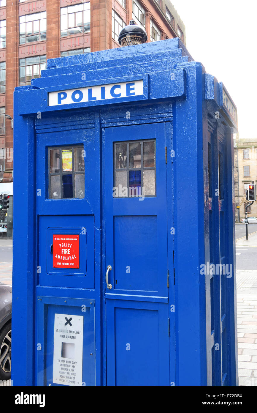HotpixUK,GoTonySmith,police box,blue,Police,Scotland,City Centre,area,British Broadcasting Corporation,Public Call Box,Glasgow,Merchant City,UK,box,Police box,blue police box,miniature police station,telephone,light,on top,top,light on top,Glasgow police box,Glasgow police boxes,boxes,Civil Defence & Emergency Service Preservation Trust and the Glasgow,Glasgow Building Preservation Trust,Civil Defence & Emergency Service Preservation Trust,architectural heritage,Strathclyde Police,shed,kiosks,kiosk,door,window,public police telephone,Gilbert MacKenzie Trench,G1