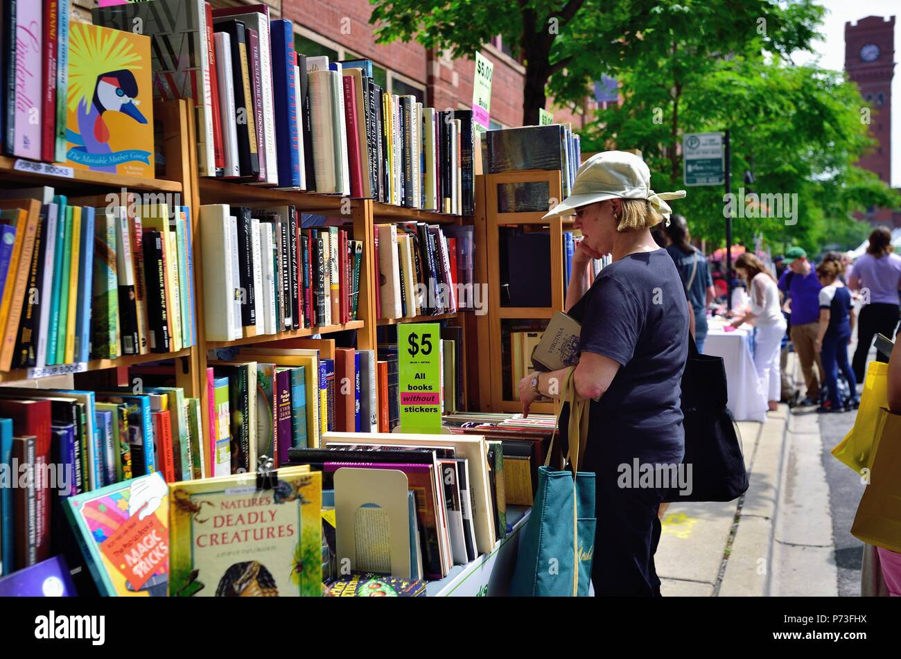 Chicago, Illinois, USA. Woman ponders a potential purchase at the annual Printers Row Lit Fest (formerly Printers Row Book Fair). The large street fes Stock Photo