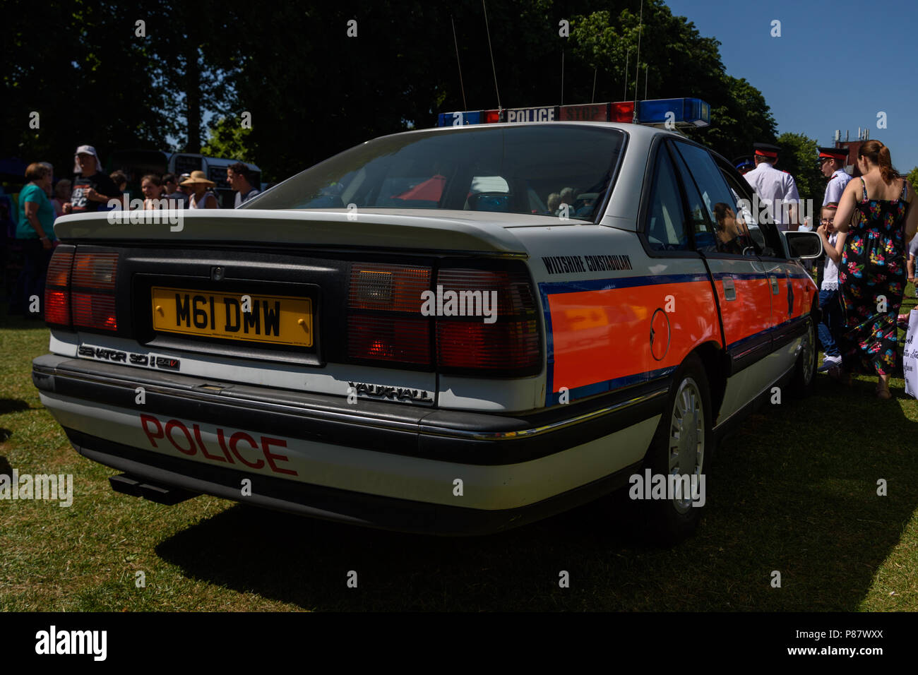 Classic police 3 liter vauxhall senator car on display for public in Trowbridge park at the armed forces celebration weekend Stock Photo