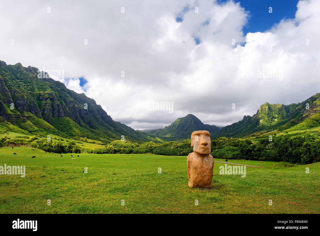 Easter island head on Kualoa Ranch, Oahu, Hawaii Stock Photo