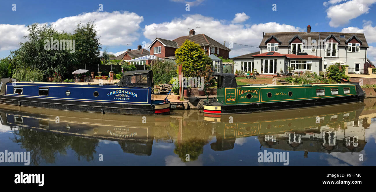 GoTonySmith,@HotpixUK,North West England,UK - Narrowboat,canals,Cheshire,Ring,UK,water,summer,tourism,tourist,Canal Anderton,Canal Northwich,tow path,towpath,pano,panorama,Bramley,Green Barge,Chregamour,blue barge,clouds,cloud,reflection,reflections,painting,art,Anderton Lift,wide shot,wide,shot,two barges,2 barges,Two barge,reflecting