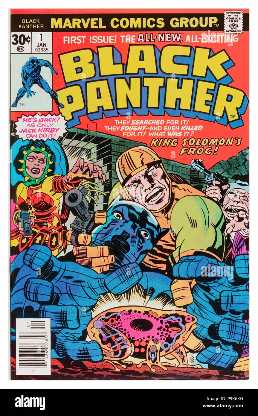 'Black Panther' Marvel Comics Issue 1 published 10 January 1977 artwork and story by Jack Kirby (1917-1994). The Black Panther helps Abner Little retrieve King Solomon's frog only to discover it is a time machine! Stock Photo