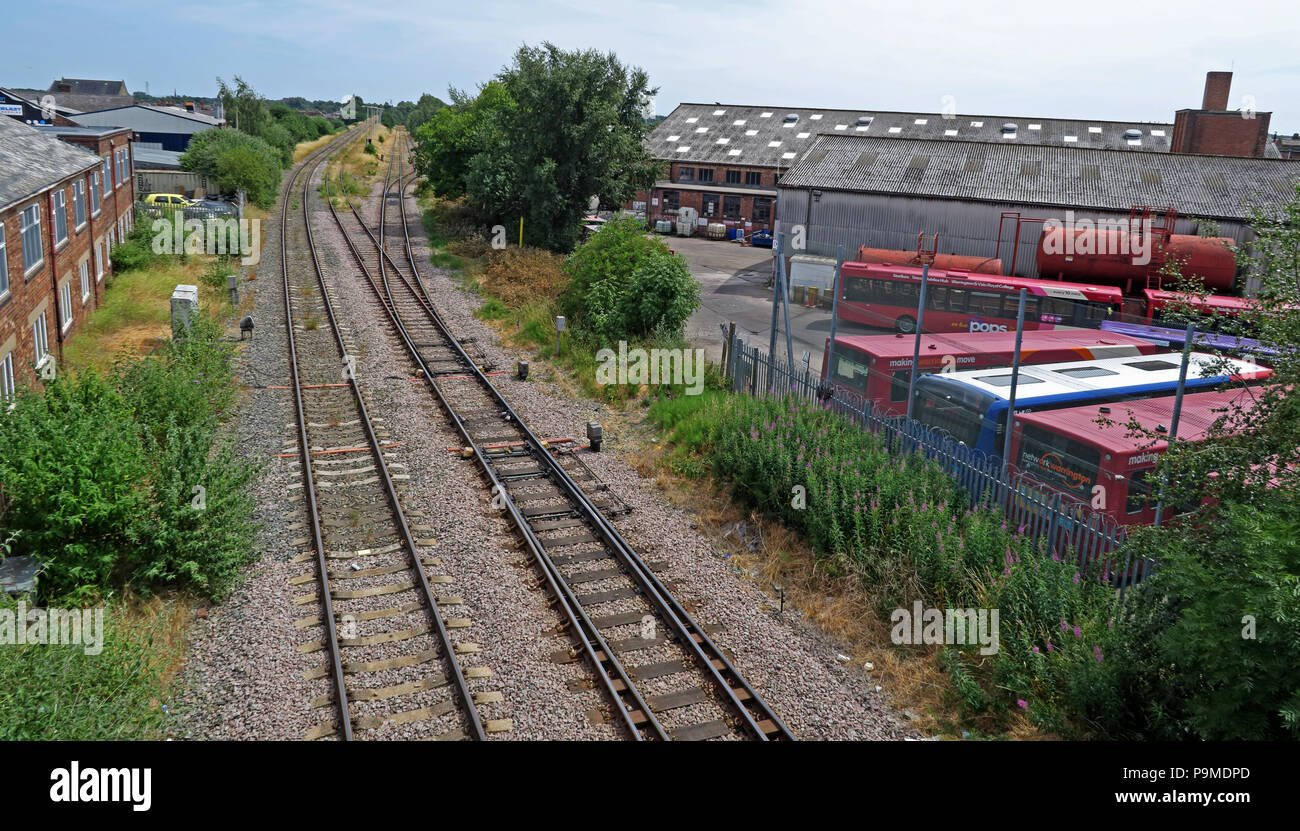 @HotpixUK,GoTonySmith,tracks,rails,track,siding,Latchford,Bridgefoot,Cheshire,England,UK,with,foreground,Warringtons Own Buses,Coal Yard,Arpley,Arpley Yard,Former W&S Railway,W&S Railway,Fiddlers Ferry Traffic,Coal,Coal line,coal traffic,lines,railway,town centre,transport,bus depot,Wilderspool,depot,Cheshire Lines,Cheshire Lines railway,summer,points,railway points,reversing loop,loop,latchford loop,DB Schenker,Freightliner Heavy Haul