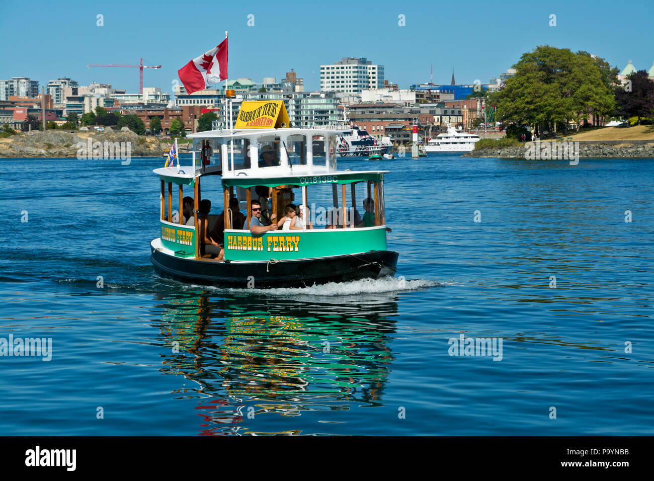 Victoria Harbour Ferry.  Harbour Ferries in Victoria, British Columbia, Canada, tourists on tours of the inner harbour and waterways. Victoria BC. Stock Photo