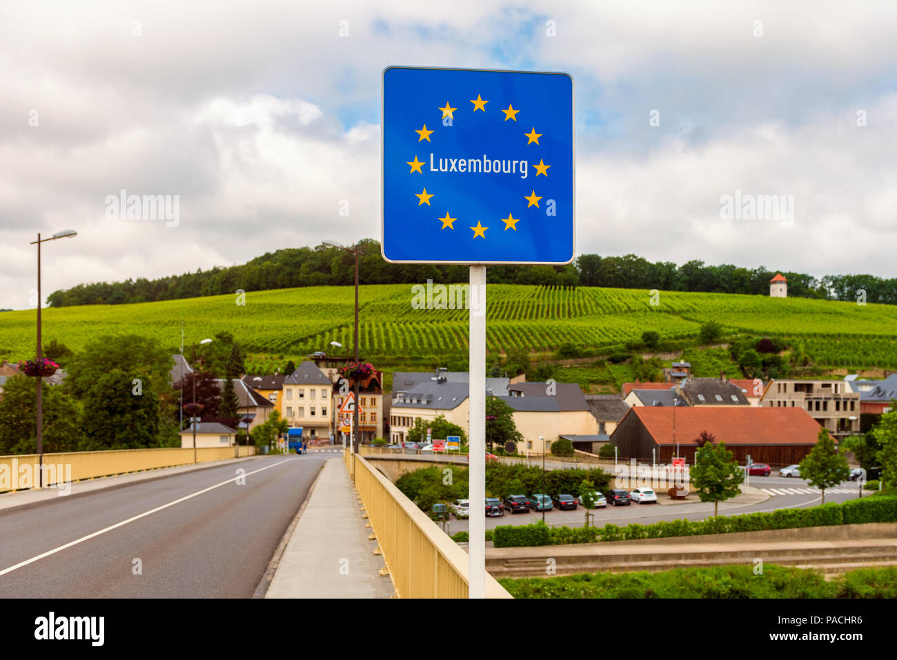 Entrance Sign to Luxembourg in SchengenStock Photo