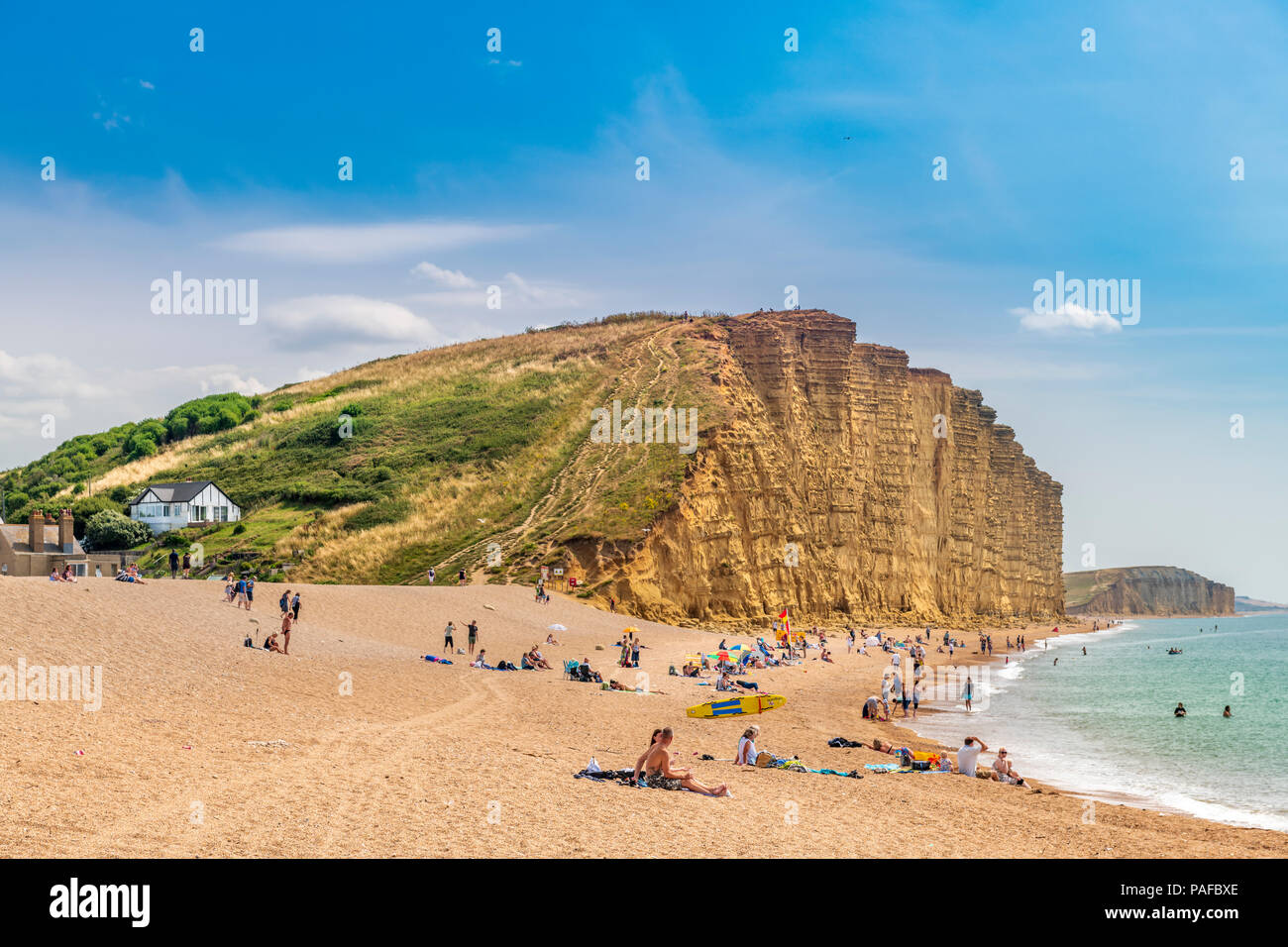 The famous landmark cliff at West Bay in Dorset, made famous by the television series 'Broadchurch'. Stock Photo