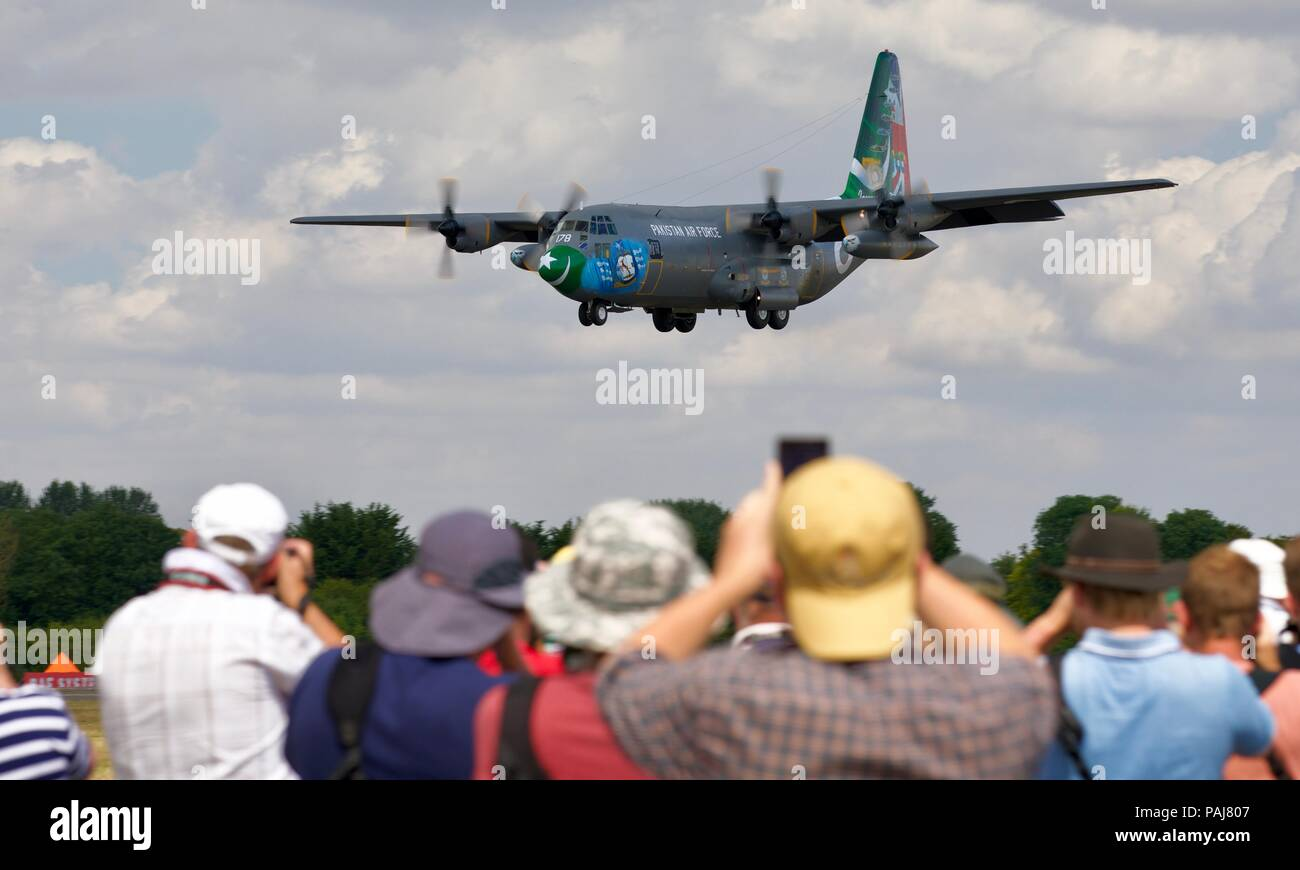 Pakistan Air Force Lockheed C-130E Hercules arriving at RAF Fairford for the 2018 Royal International Air Tattoo - Stock Image