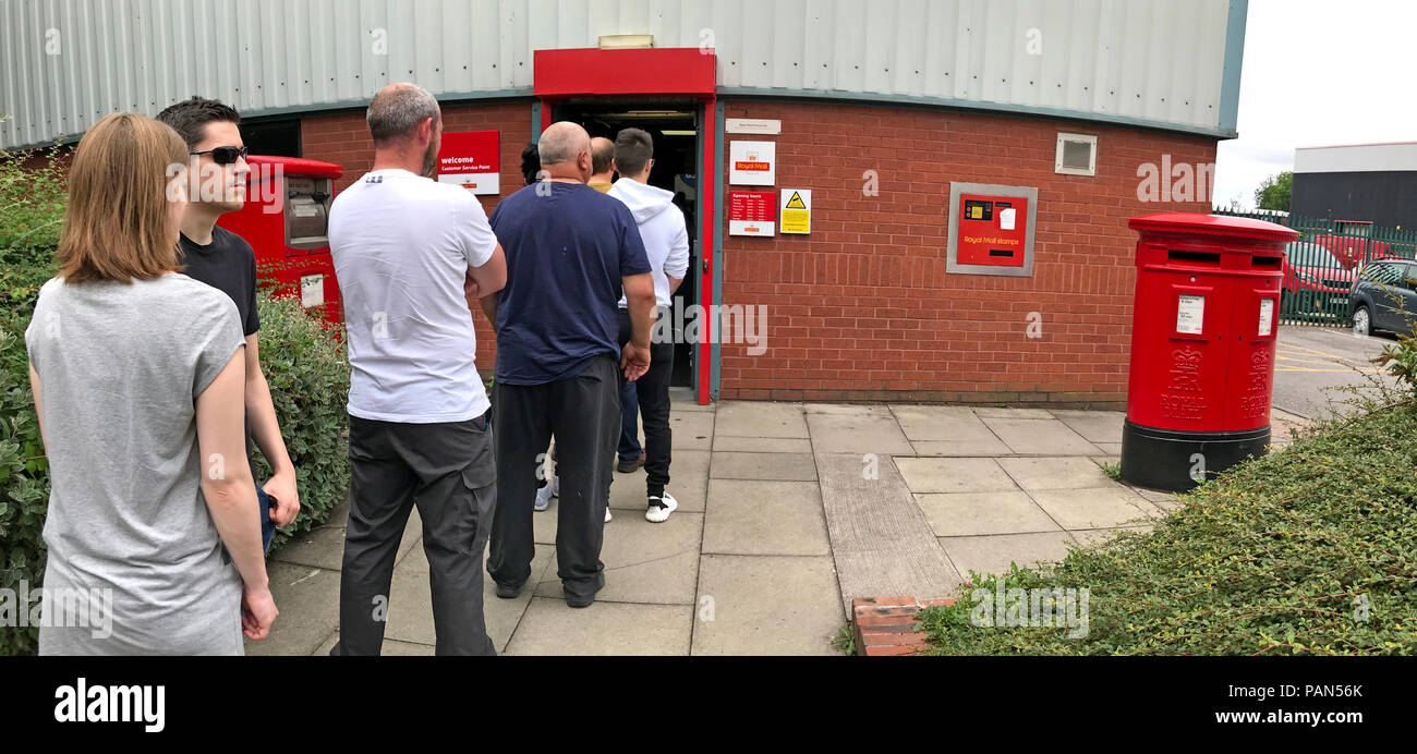 @HotpixUK,GoTonySmith,post,parcel,collection,at a,Milner St,Warrington,Cheshire,UK,sorting,office,people,outside,long,postbox,pillar,box,royal,mail,slow,inefficient,wasted,time,wasting time,weekend,week day,weekday