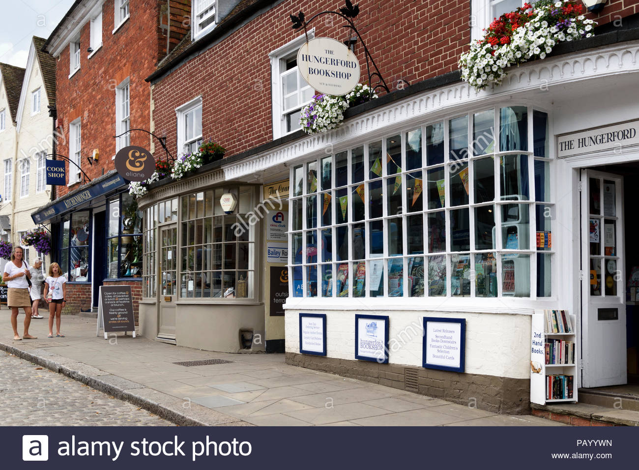The Hungerford Bookshop and Hungerford High Street, Berkshire, England, UK Stock Photo