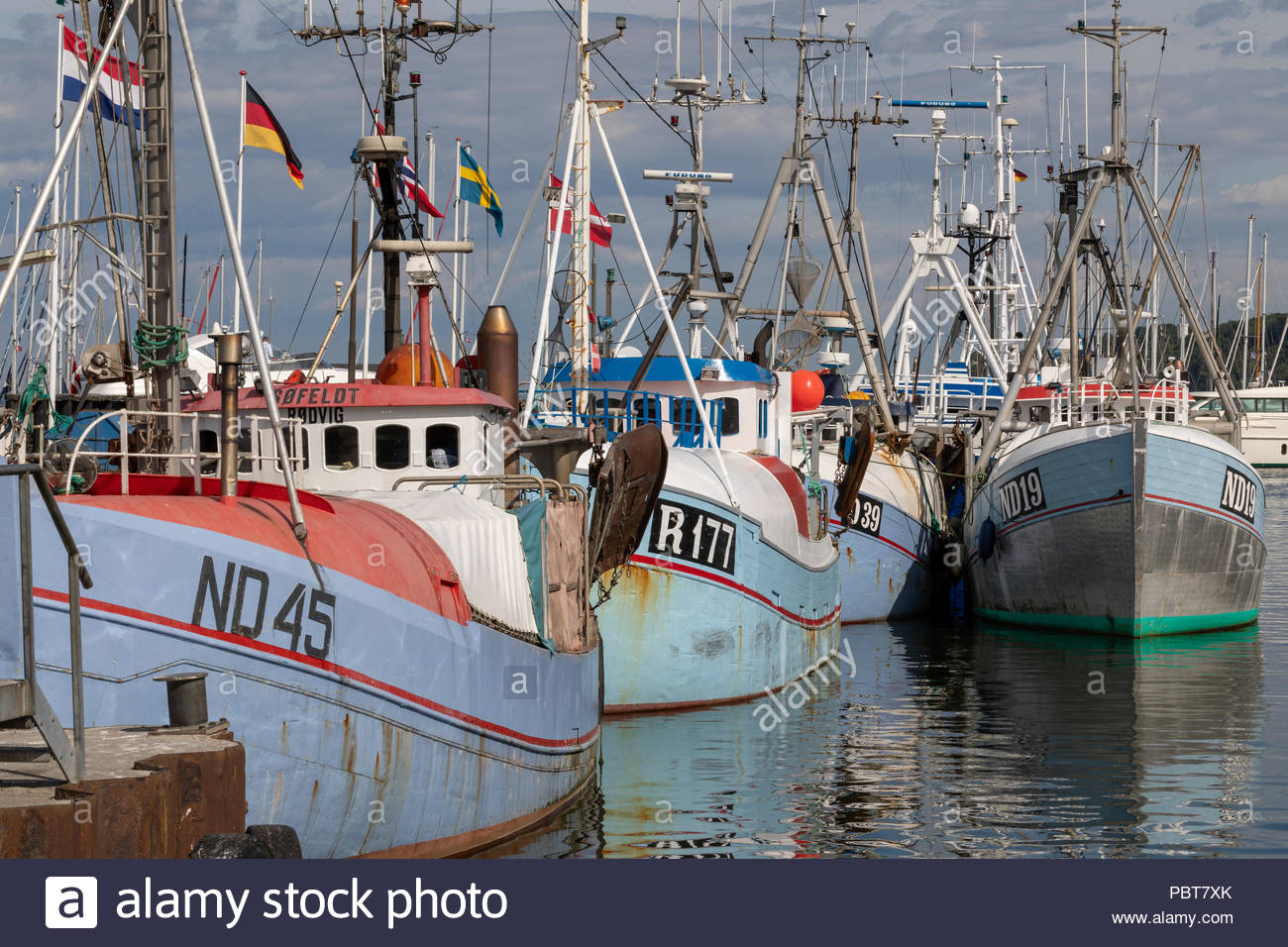 Fishing vessels, Gilleleje Harbour, Gilleleje, Denmark Stock Photo