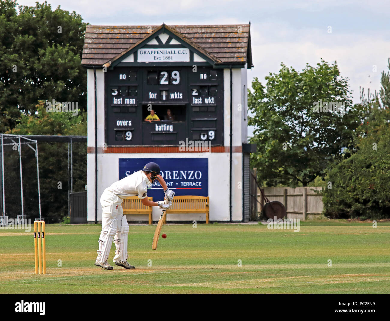 GoTonySmith,@HotpixUK,pitch,field,clubhouse,score board,at Broad Lane,Grappenhall,bat,batting,playing,Cricket Club,Cheshire league,cricket,runs,July 2018,white,whites,sport,Grappenhall sports,Sport in warrington,Warrington sport,activity,active,men,men playing sport,competitive,Warrington,Cheshire,North West England,UK,fixture,fixtures,results,senior team,teams,match,report,new players