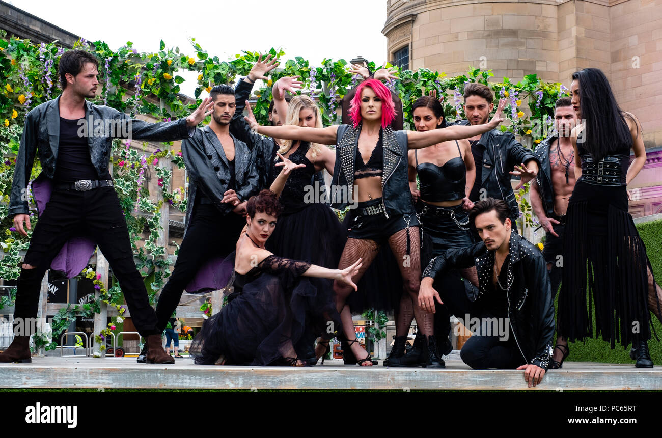 Edinburgh, Scotland, UK; 31 July, 2018. Dance group Burn the Floor: Rebels of Ballroom at a photo Call prior to performances the Edinburgh Fringe Festival. Appearing for the first time at the Fringe the company has reinvented Ballroom dance styles. Credit: Iain Masterton/Alamy Live News Stock Photo