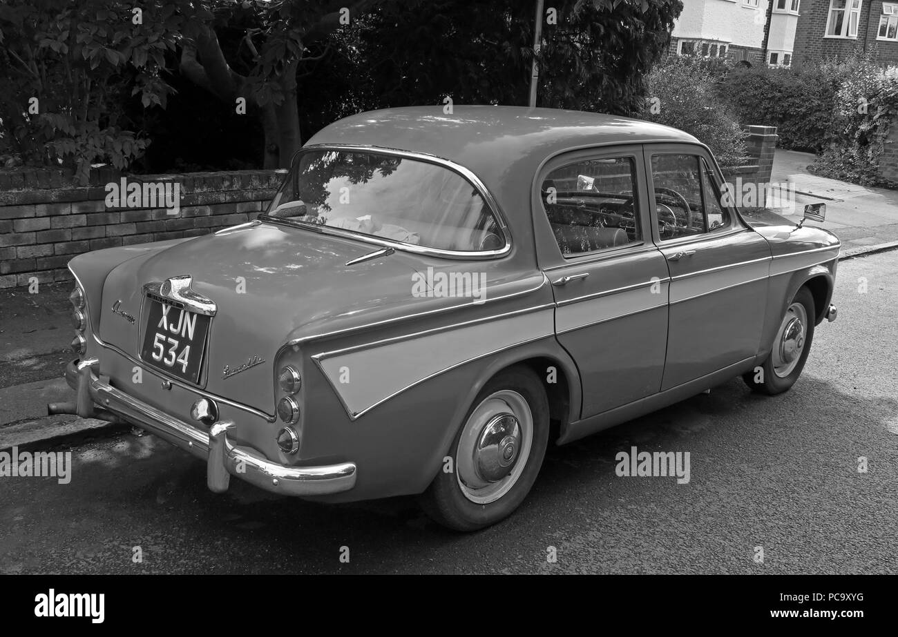 GoTonySmith,@HotpixUK,black white,monochrome,Black and White,vehicle,transport,1960,1960s,blue,XJN534,in the street,parked,Stockton Heath,Warrington,parked in road,parked in street,history,historic,Rootes,group,Singer Rootes Group,1956,1950s,British automobiles,auto,cars,British car manufacturing,car making,four door,saloon,Audax,body,Loewy design organisation,two tone paint,twotone,paint