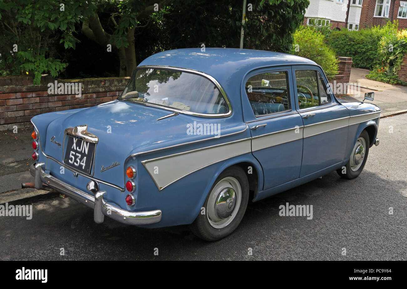 GoTonySmith,@HotpixUK,vehicle,transport,1960,1960s,blue,XJN534,in the street,parked,Stockton Heath,Warrington,parked in road,parked in street,history,historic,Rootes,group,Singer Rootes Group,1956,1950s,British automobiles,auto,cars,British car manufacturing,car making,four door,saloon,Audax,body,Loewy design organisation,two tone paint,twotone,paint,old car,old cars