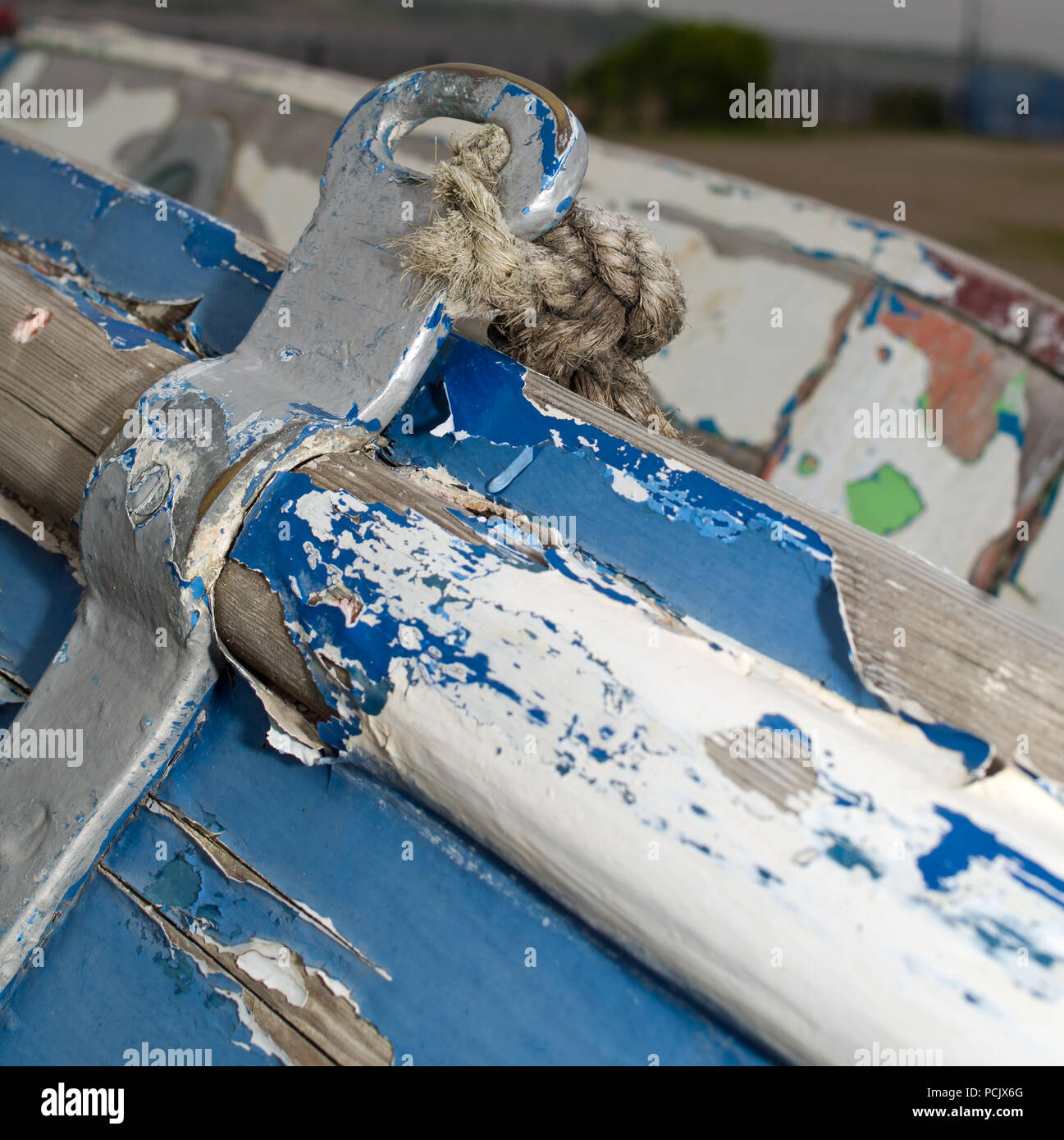 Old Blue Wooden Boat Barrow in Furness Stock Photo