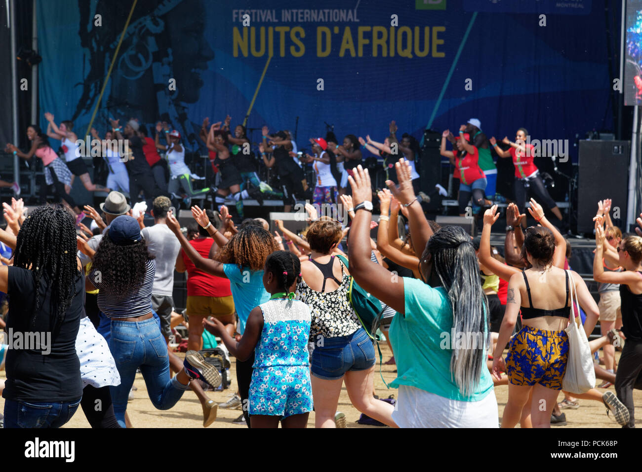 People dancing at the Festival Nuits D'Afrique in Montreal Stock Photo