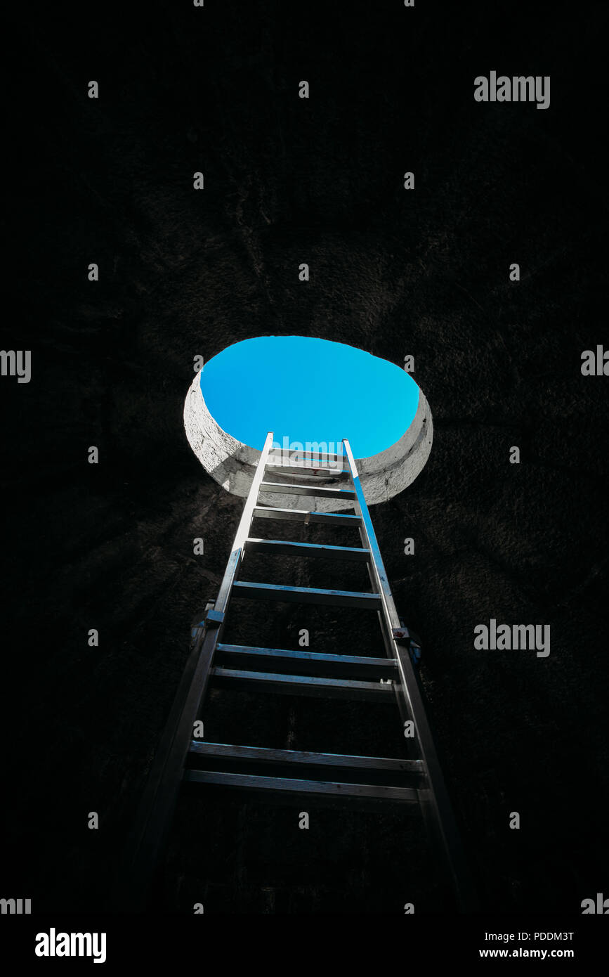 vertical-step-ladder-on-ceiling-window-leading-to-freedom-and-other-positive-emotions-stairway-to-heaven-theme-PDDM3T.jpg