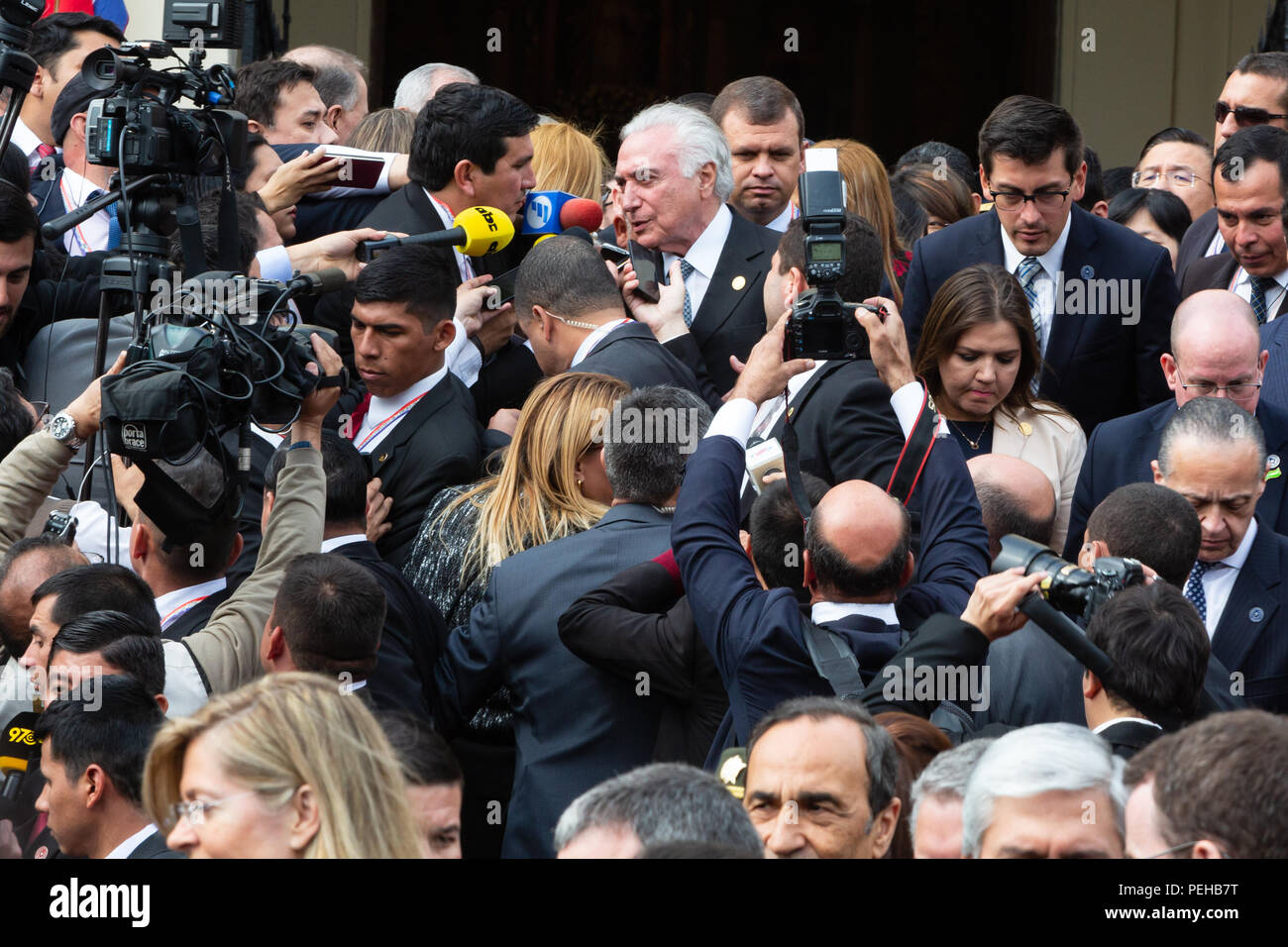 Asuncion, Paraguay. 15th Aug, 2018. Brazilian President Michel Temer speaks to the media as he leaves the Metropolitan Cathedral of Asuncion after attending a Te Deum service following the inauguration ceremony of Paraguay's new President Mario Abdo Benitez in Asuncion, Paraguay. Credit: Andre M. Chang/ARDUOPRESS/Alamy Live News Stock Photo