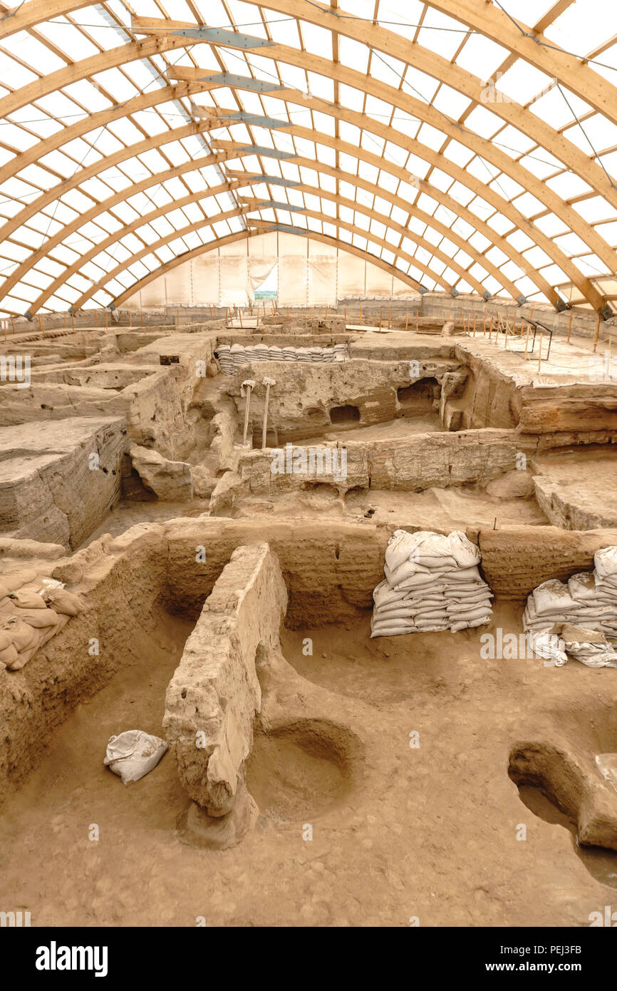 Catalhoyuk is oldest town in world with large Neolithic and Chalcolithic best preserved city settlement in Cumra, Konya. It was built in about 7500 BC Stock Photo