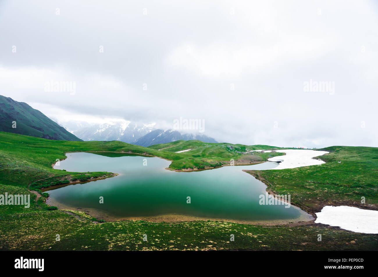 Koruldi lake Caucasus mountains on summer time Stock Photo