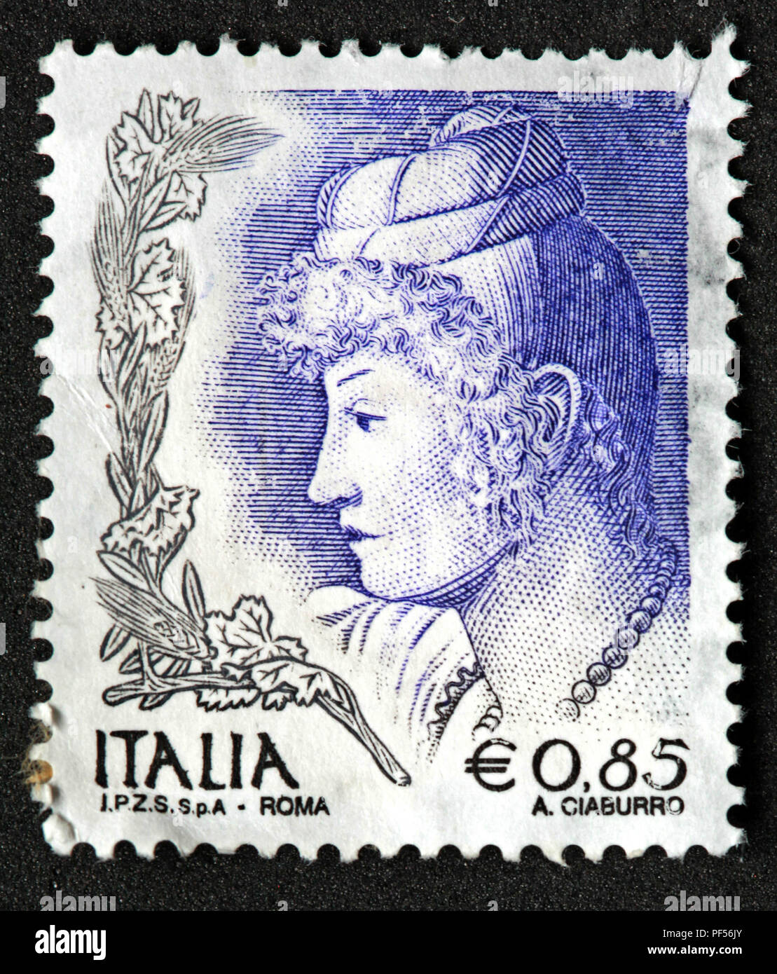 Gotonysmith,@Hotpixuk,Hotpixuk,rare old stamps,used stamps,Postal,letters,letter,communication,print,analogue,historic stamps,Used blue stamp,used blue Italia stamp,blue Italian stamp,used,blue,IPZS,Spa stamp,Roma,0.85E,0.85 euro,IPZS Spa,Italian stamp,Italy stamps