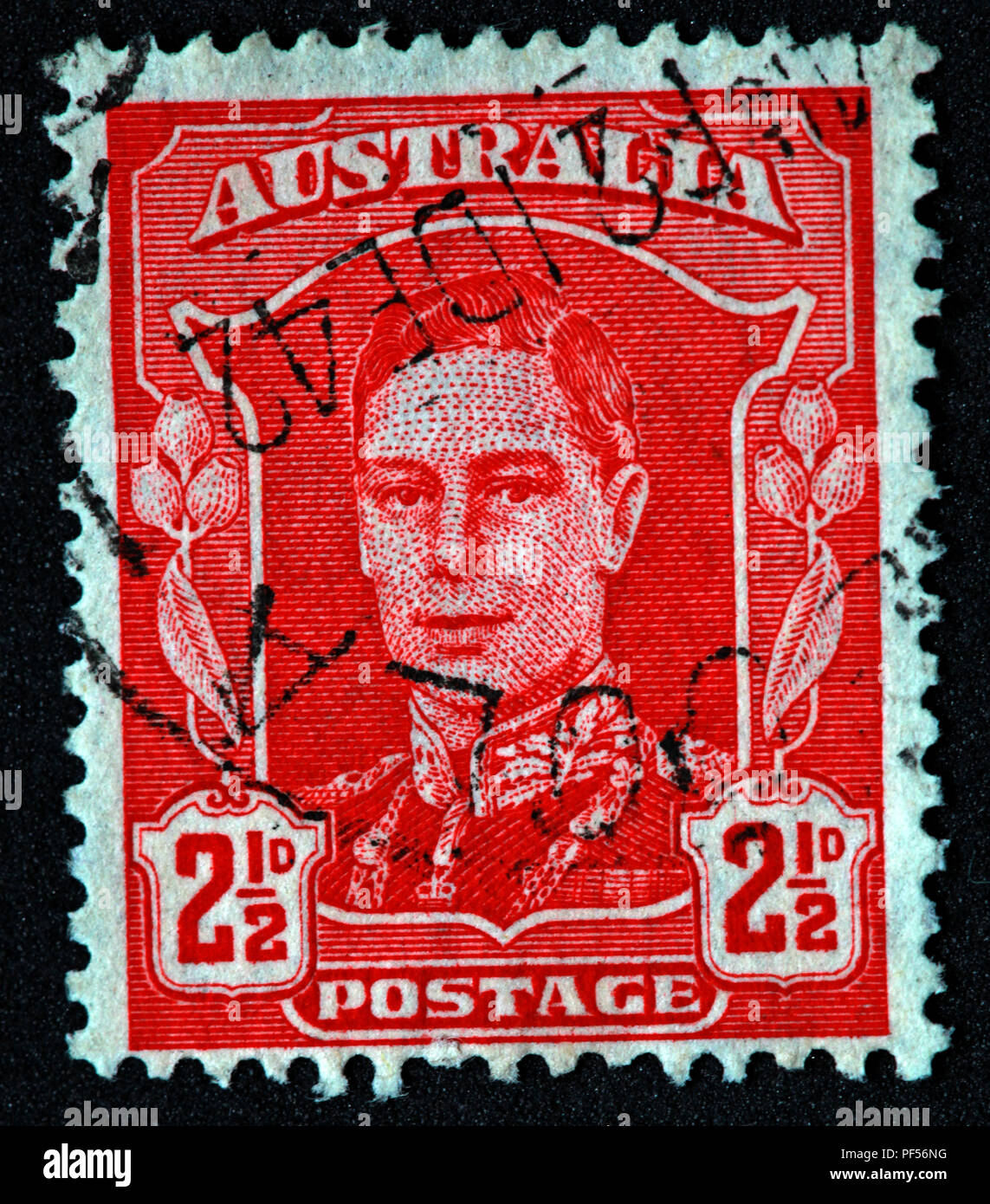Gotonysmith,@Hotpixuk,Hotpixuk,rare old stamps,used stamps,Postal,letters,letter,communication,print,analogue,historic stamps,Aussie,Used Red,Australia,1942-44,Early Issue,Fine Used,2.5d,2.5,red postage stamp,postage stamp,GVI issue