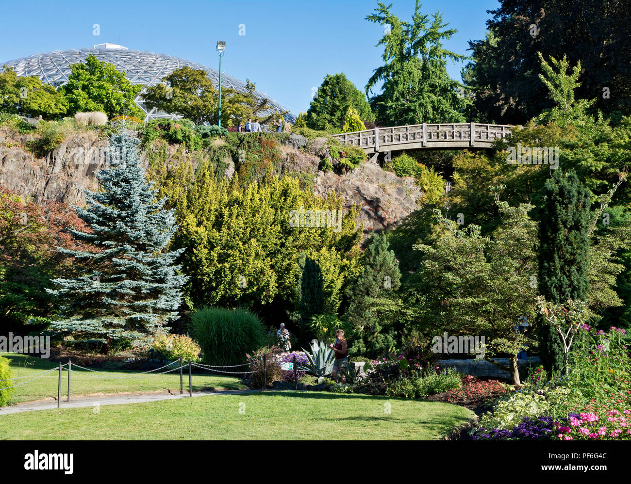 Queen Elizabeth Park in Vancouver, BC Canada.  Beautiful sunken gardens with Bloedel Conservatory above. Stock Photo