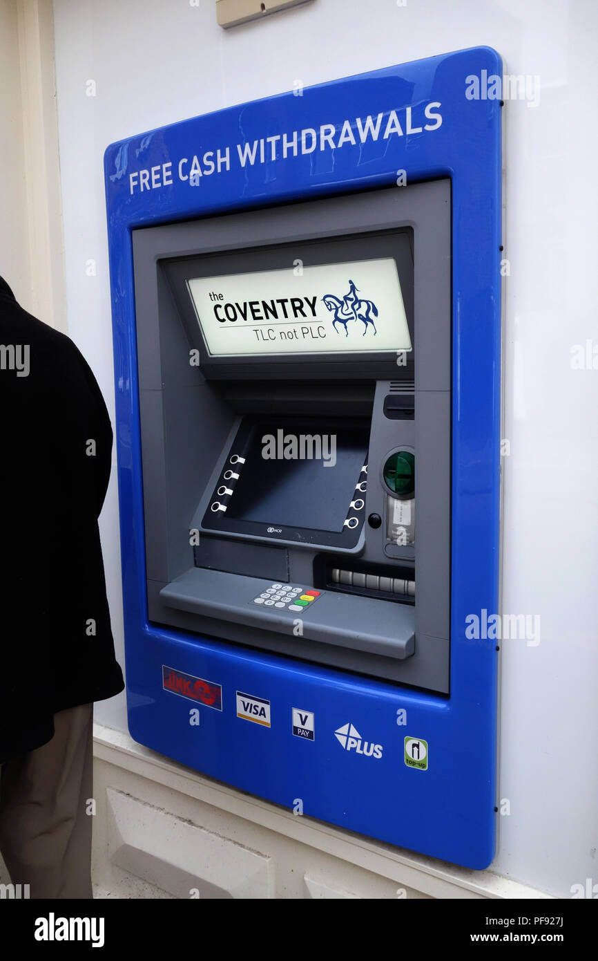 The Coventry Building Society office and ATM in the busy market town of Warwick, Warwickshire Stock Photo