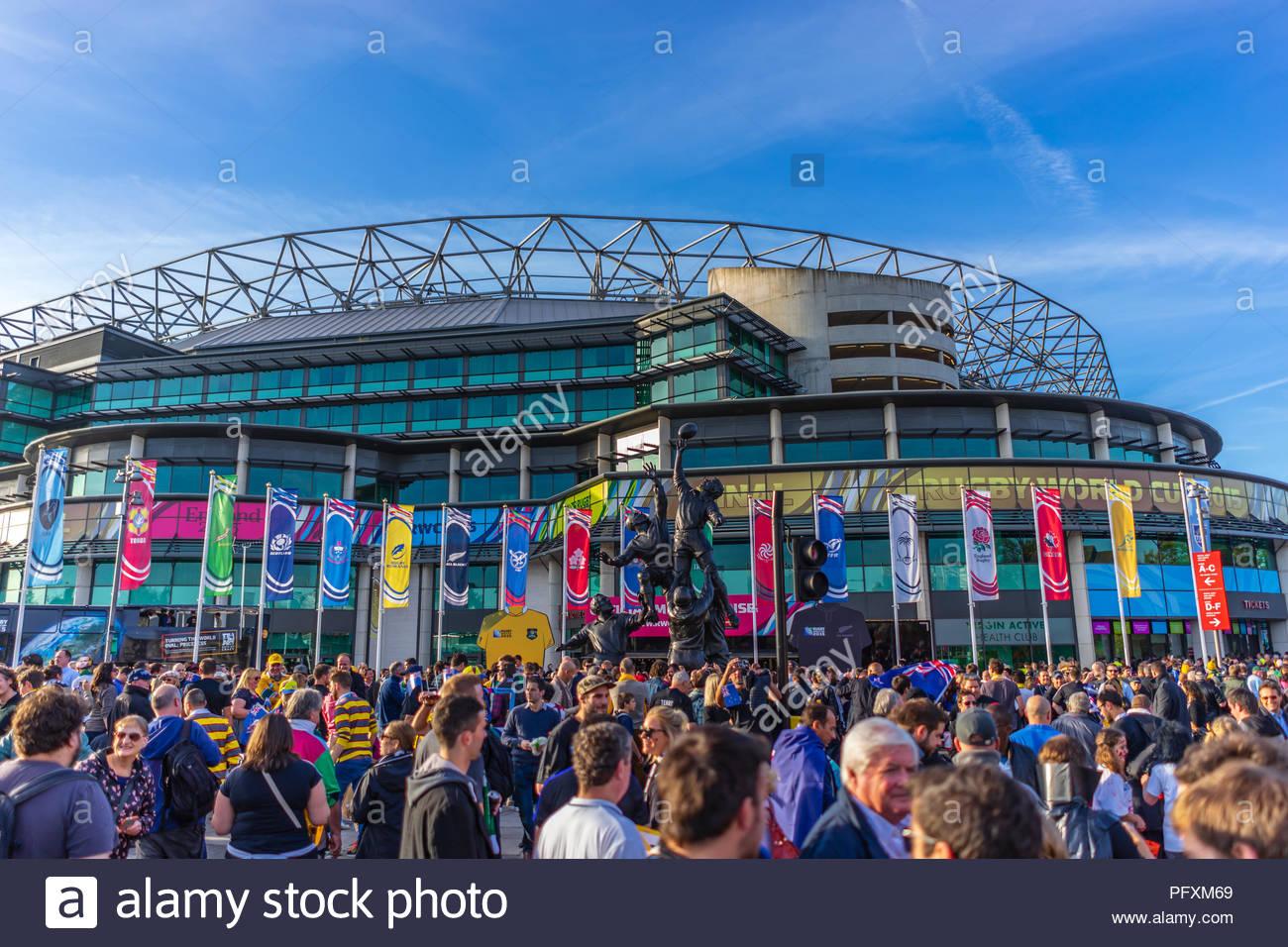Twickenham Rugby Stadium on a big match day Stock Photo