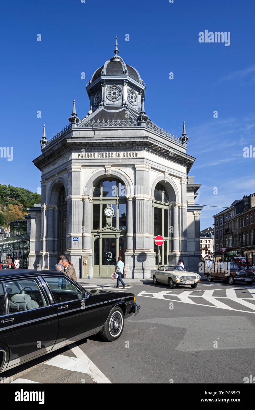 Pouhon Pierre le Grand / Peter The Great housing healing spring in the city Spa, Liège, Belgium Stock Photo